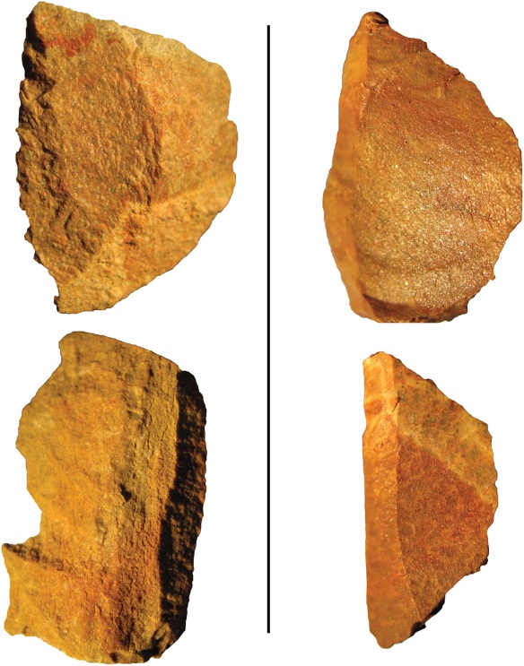 Fig. 1. Comparison of un heat-treated silcrete (left) to heat-treated silcrete (right) emphasizing the change in texture and grain quality between the two. From Pargeter 2013.